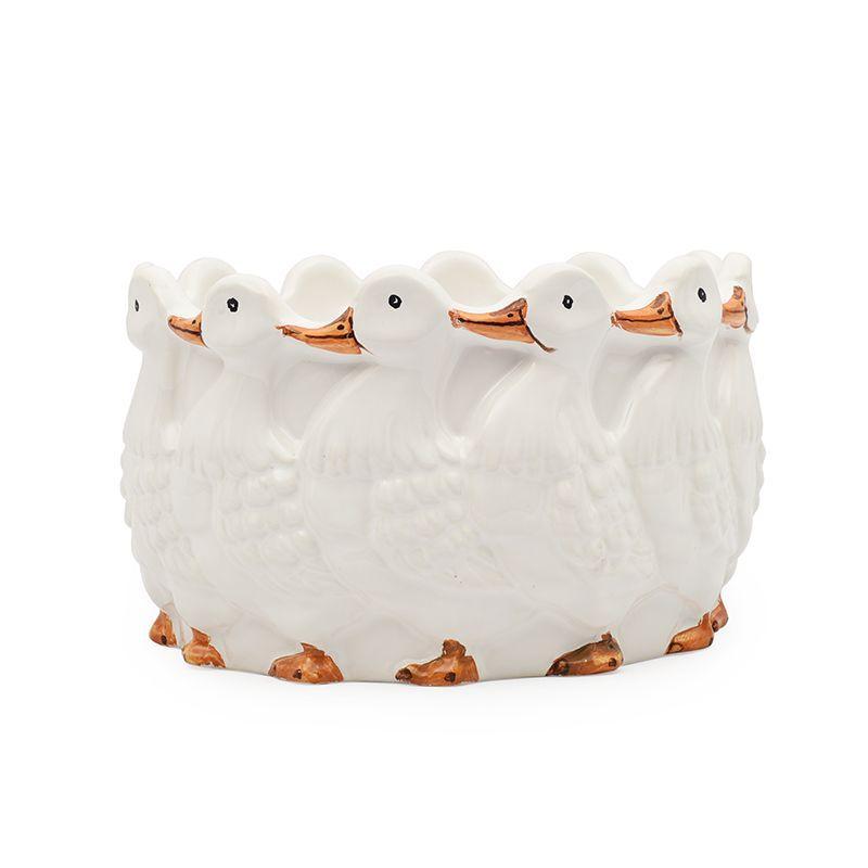 Керамическое кашпо с рельефным декором «Утки» Ceramiche Bravo