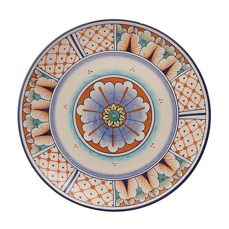 Настенная декоративная тарелка с разноцветным орнаментом