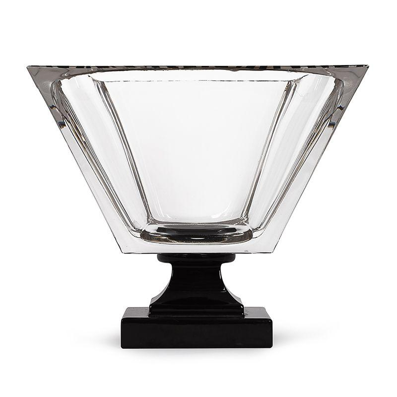 Стеклянная ваза в форме чаши на черной ножке Cre Art