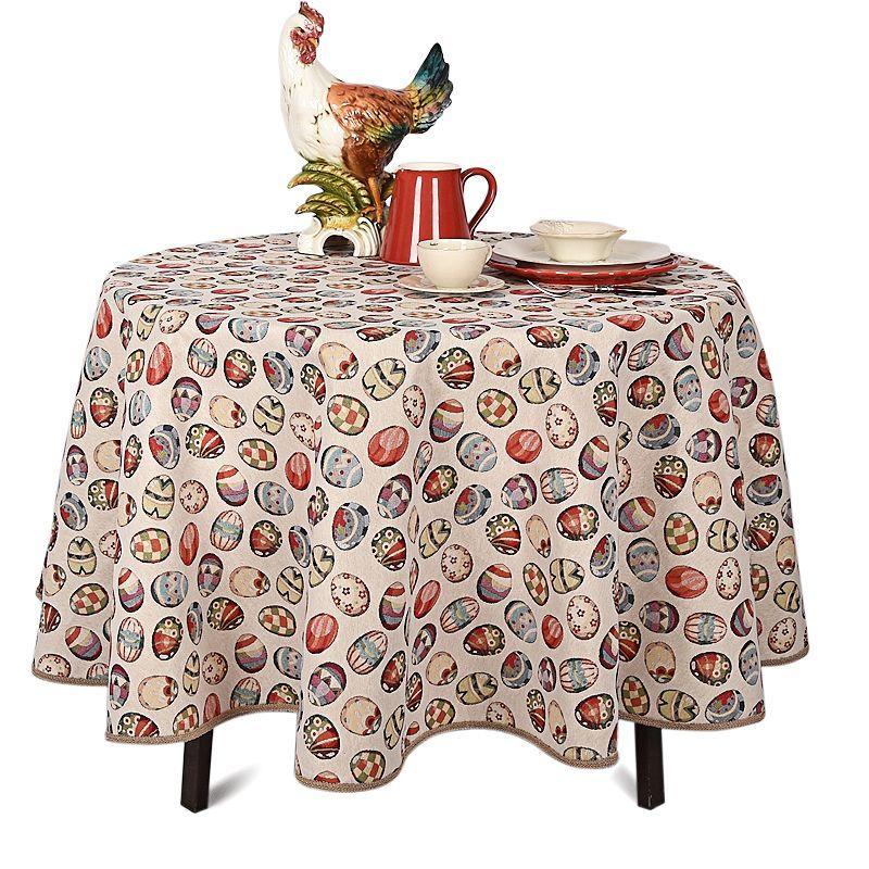 Скатерть на круглый стол с тефлоновой пропиткой «Пасхальный декор»