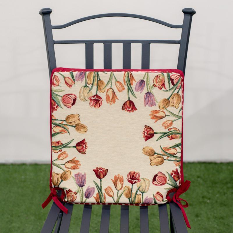 """Подушка для стула """"Цветущие тюльпаны"""""""