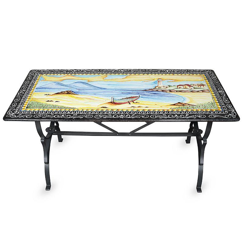 """Стол из вулканического базальта с пейзажем """"Море"""""""