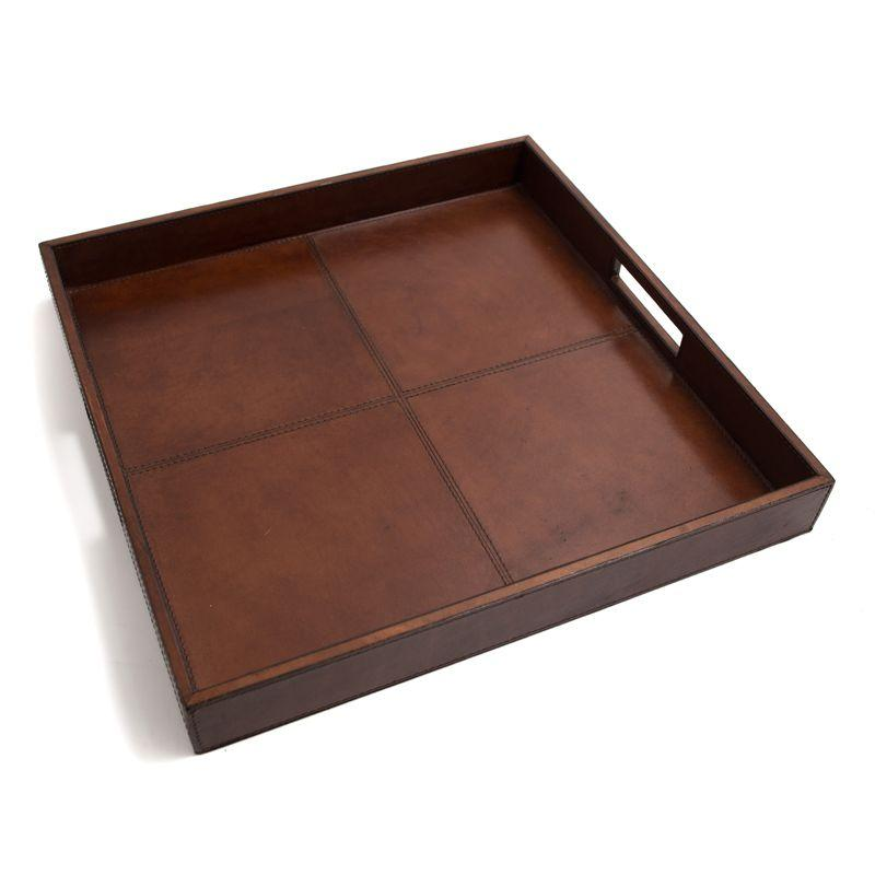Лоток для бумаг кожаный квадратный