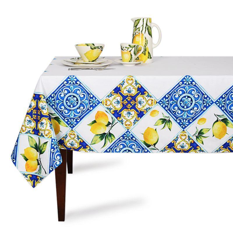 """Скатерть белая """"Орнамент с лимонами"""" Villa Grazia Premium"""