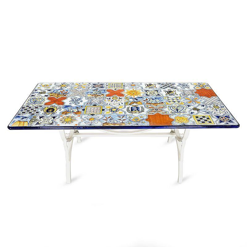Прямоугольный стол из натурального камня с ручной росписью