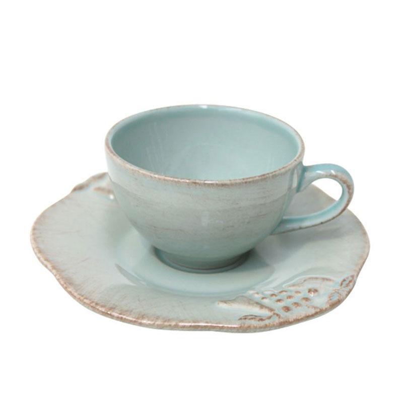 Чашки с блюдцем голубые для кофе, набор 6 шт. Mediterranea