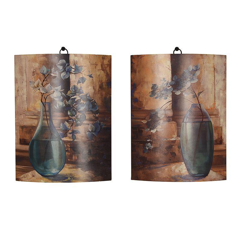 """Набор из 2-х картин на деревянной основе """"Веточки в вазах"""""""