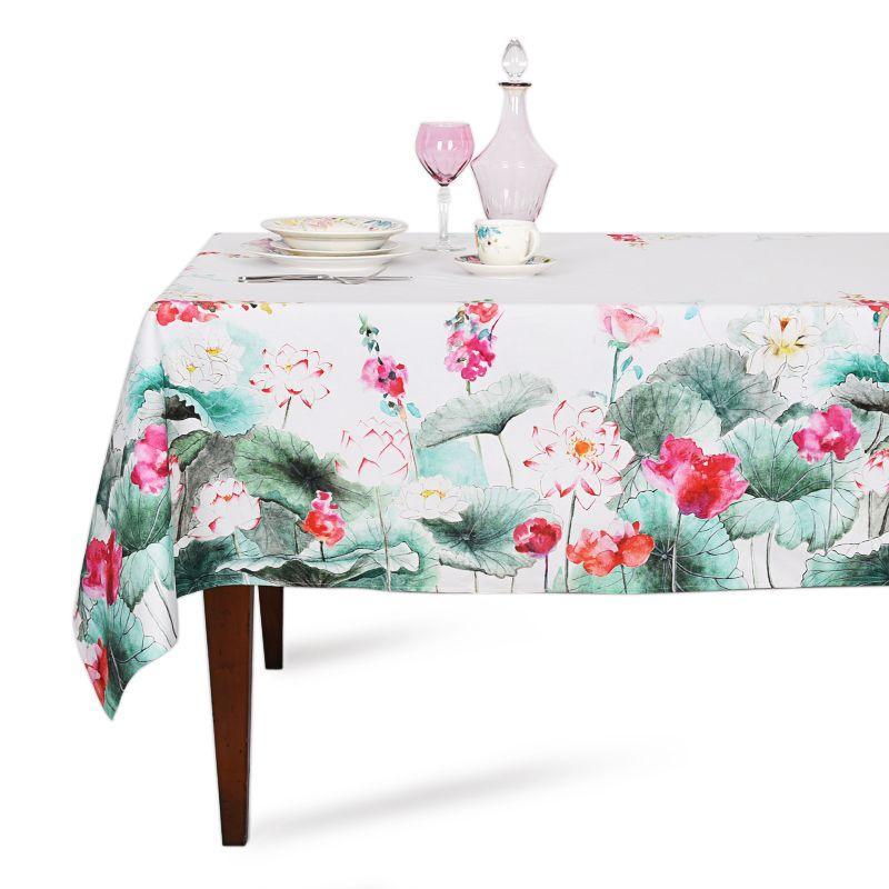 """Скатерть хлопковая """"Цветы на воде"""" Villa Grazia Premium"""