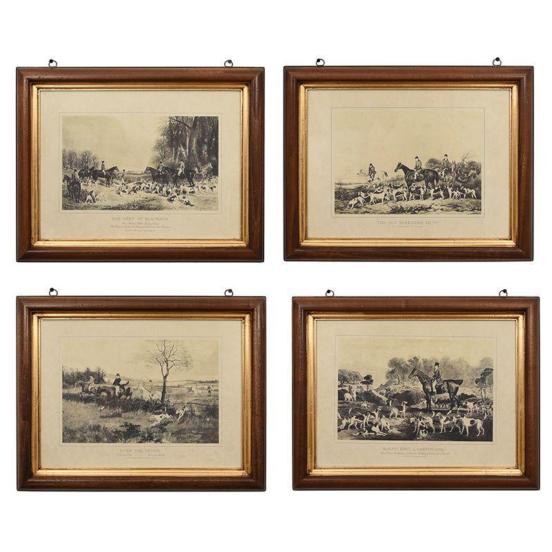 Набор из 4-х репродукций картин с изображениями охоты