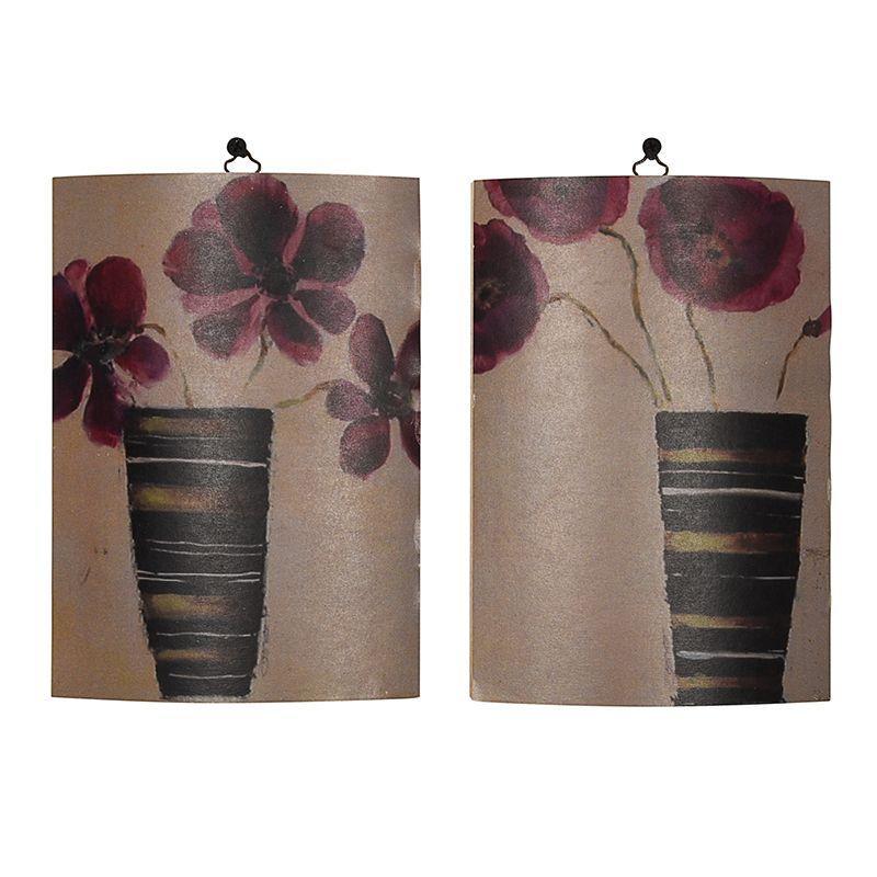 """Набор из 2-х деревянных абстрактных картин """"Цветы в вазах"""""""