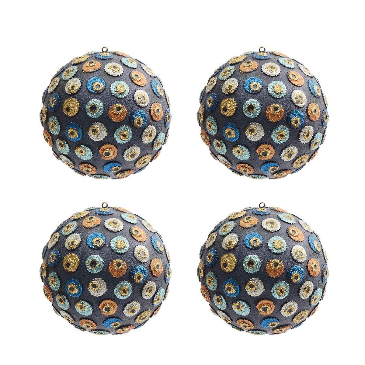 Набор из 4-х темно-фиолетовых шаров с аппликациями