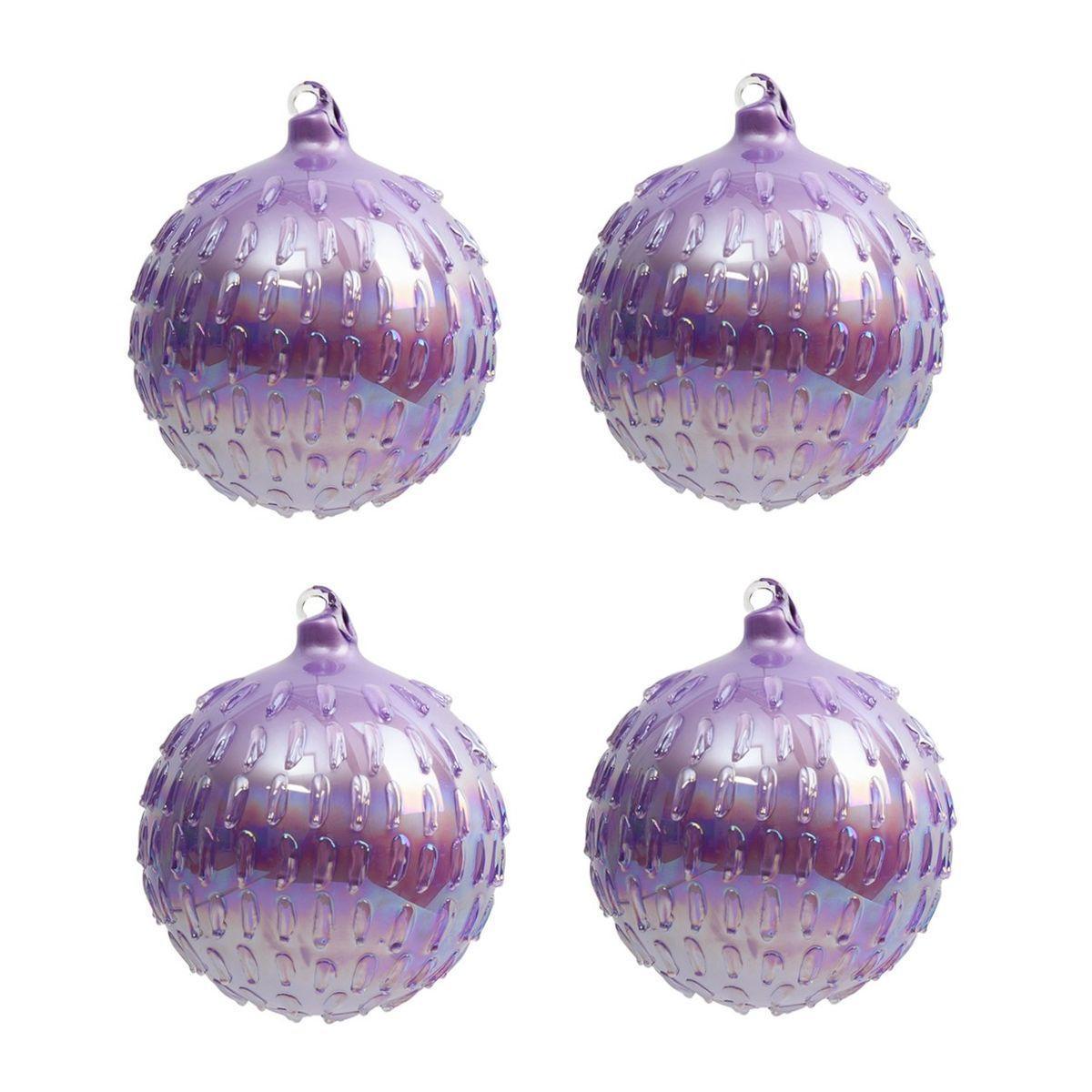 Набор из 4-х стеклянных шаров с перламутровым блеском