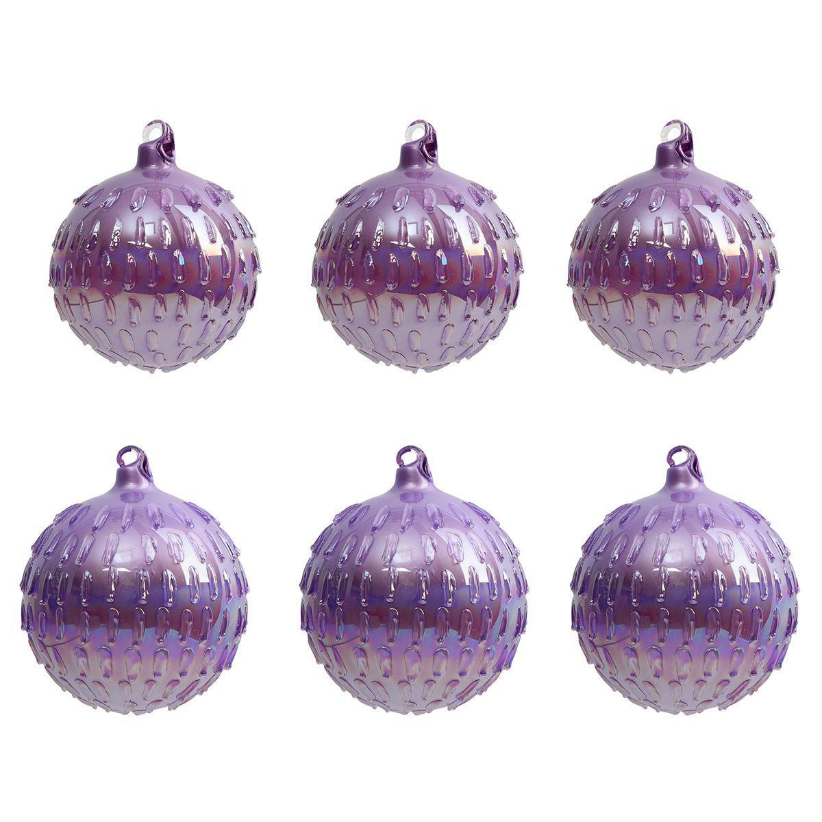 Ёлочные шары пурпурного цвета с выпуклым декором, 6 шт.