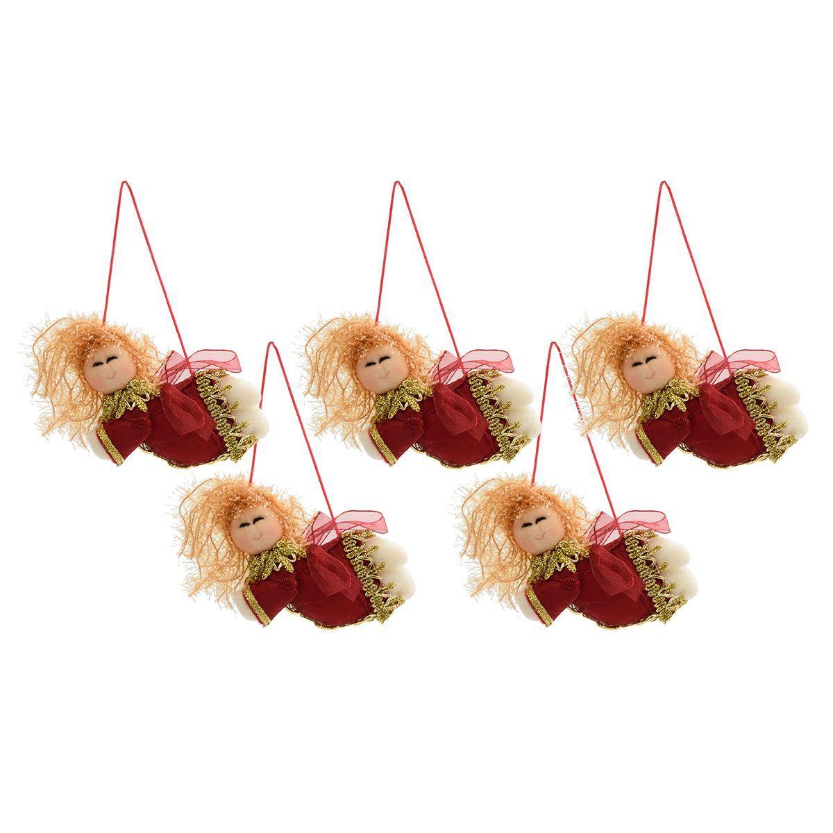 Мягкие ёлочные игрушки в виде летящих ангелочков, 5 шт.