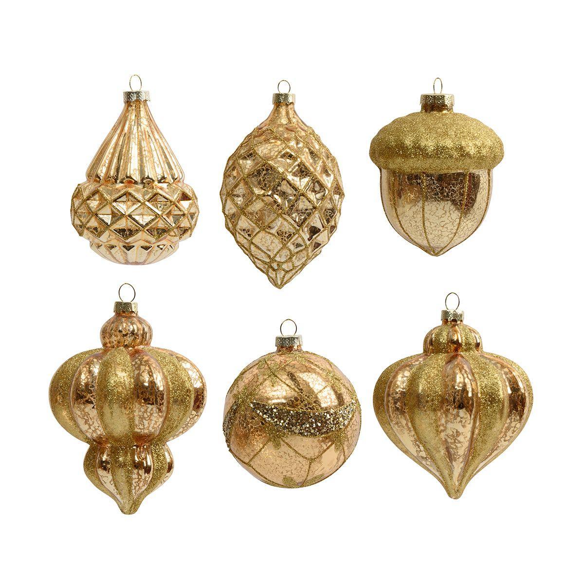 Набор из 6-ти фигурных ёлочных игрушек золотистого цвета