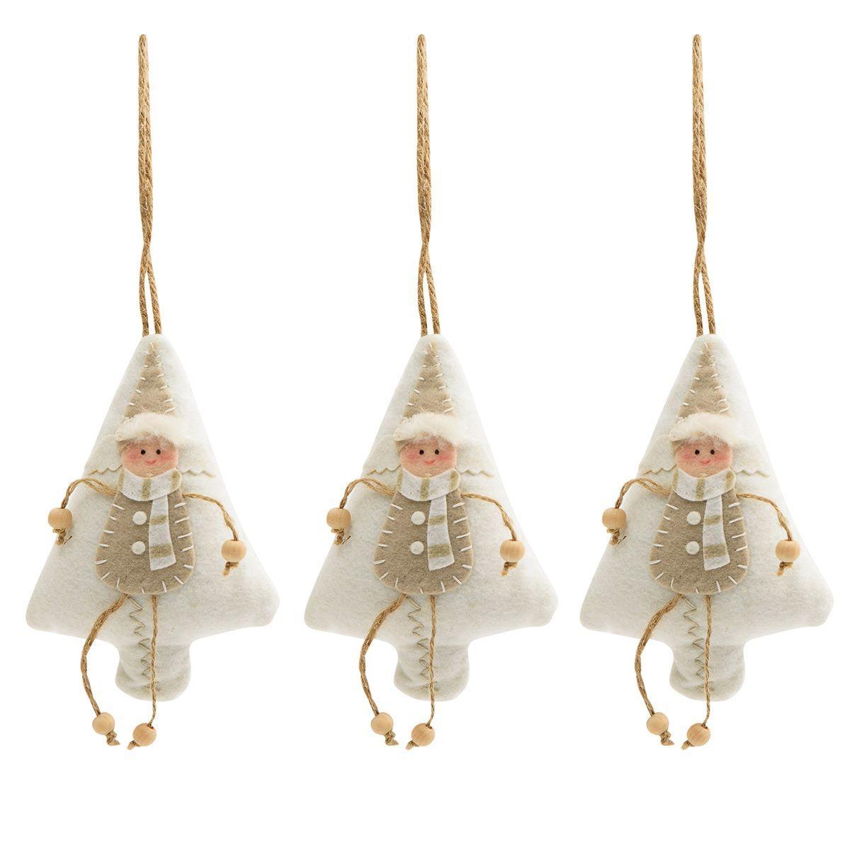 Тканые новогодние игрушки в виде белых ёлочек, набор 3 шт.