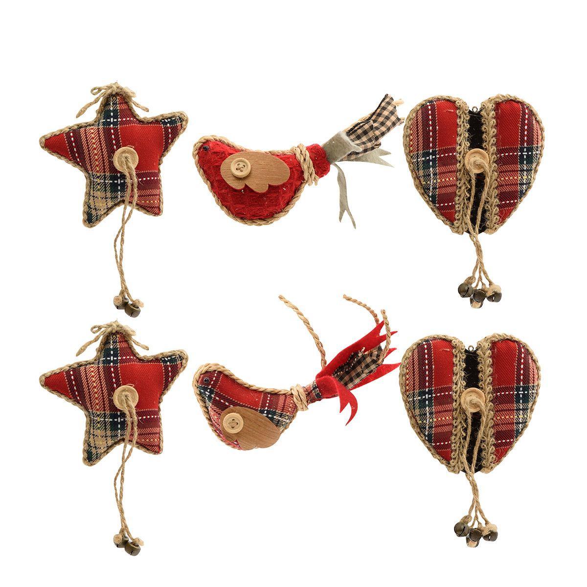 Набор из 6-ти тканых ёлочных игрушек красного цвета