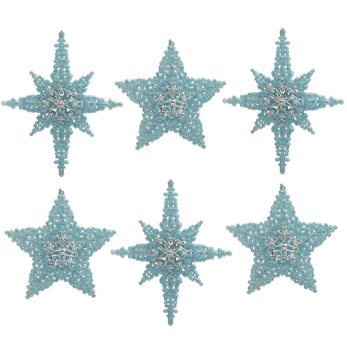 Набор из 6-ти резных ёлочных игрушек в виде голубых звезд