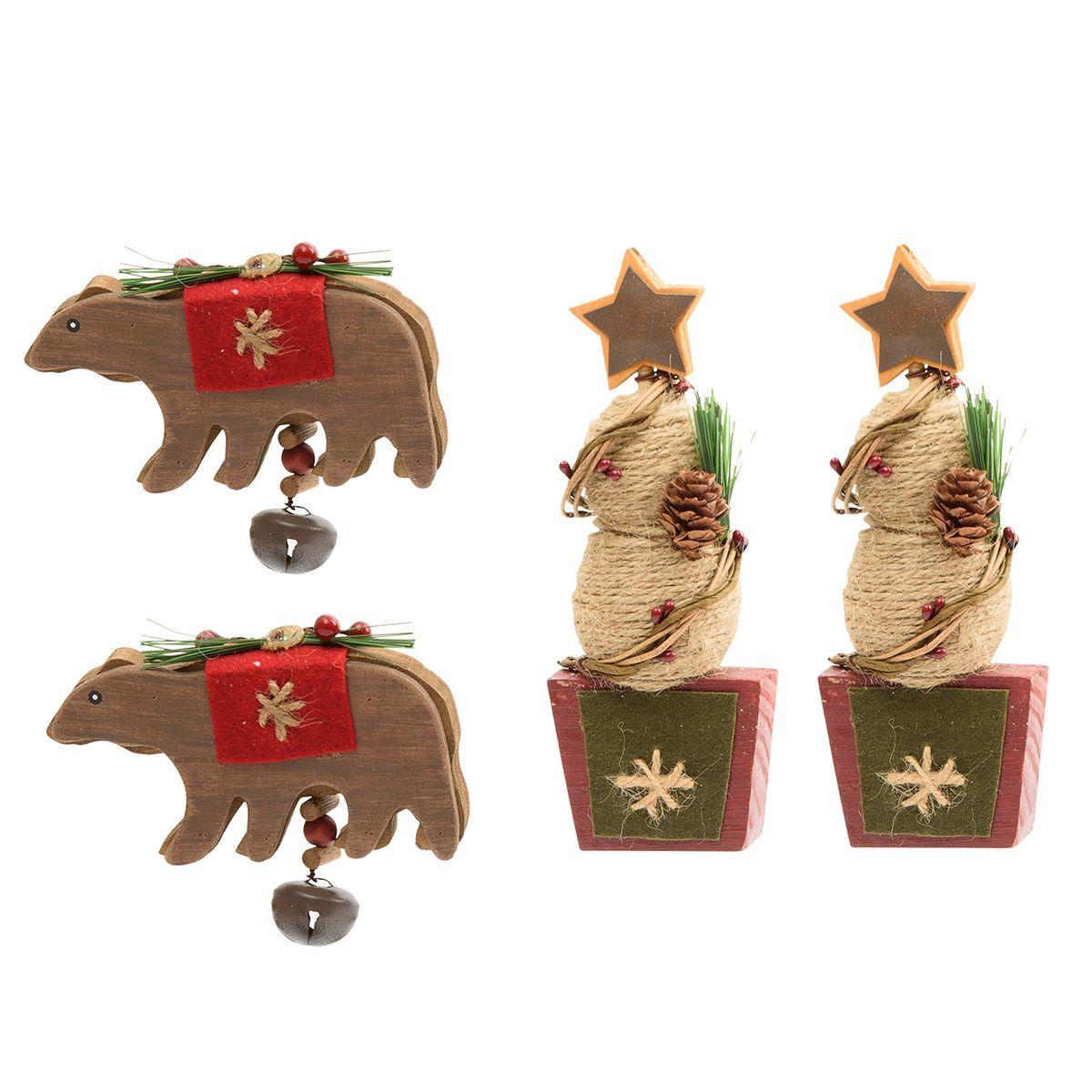 Набор из 4-х деревянных игрушек в виде медведей и ёлок