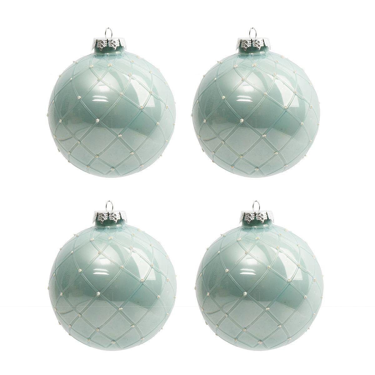 Новогодние шары на ёлку светло-бирюзового цвета, 4 шт.