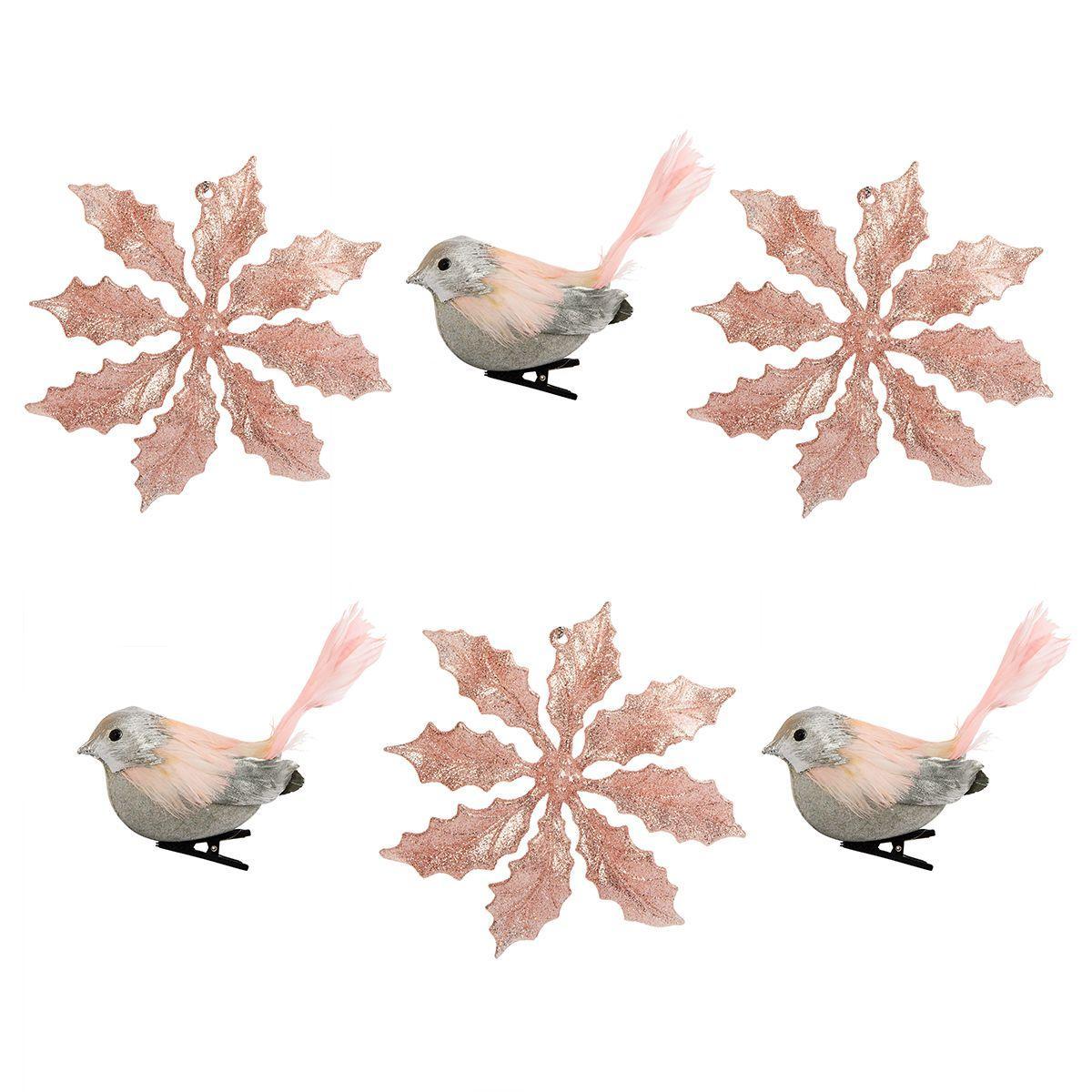 Набор из 6-ти розовых игрушек в форме птиц и пуансеттии