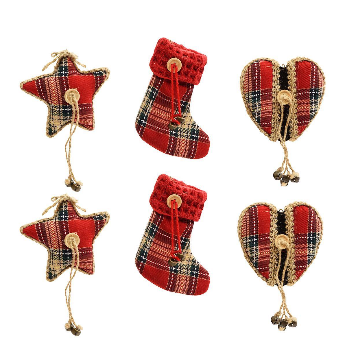 Игрушки в виде звезд, сердец и рождественских носков, 6 шт.