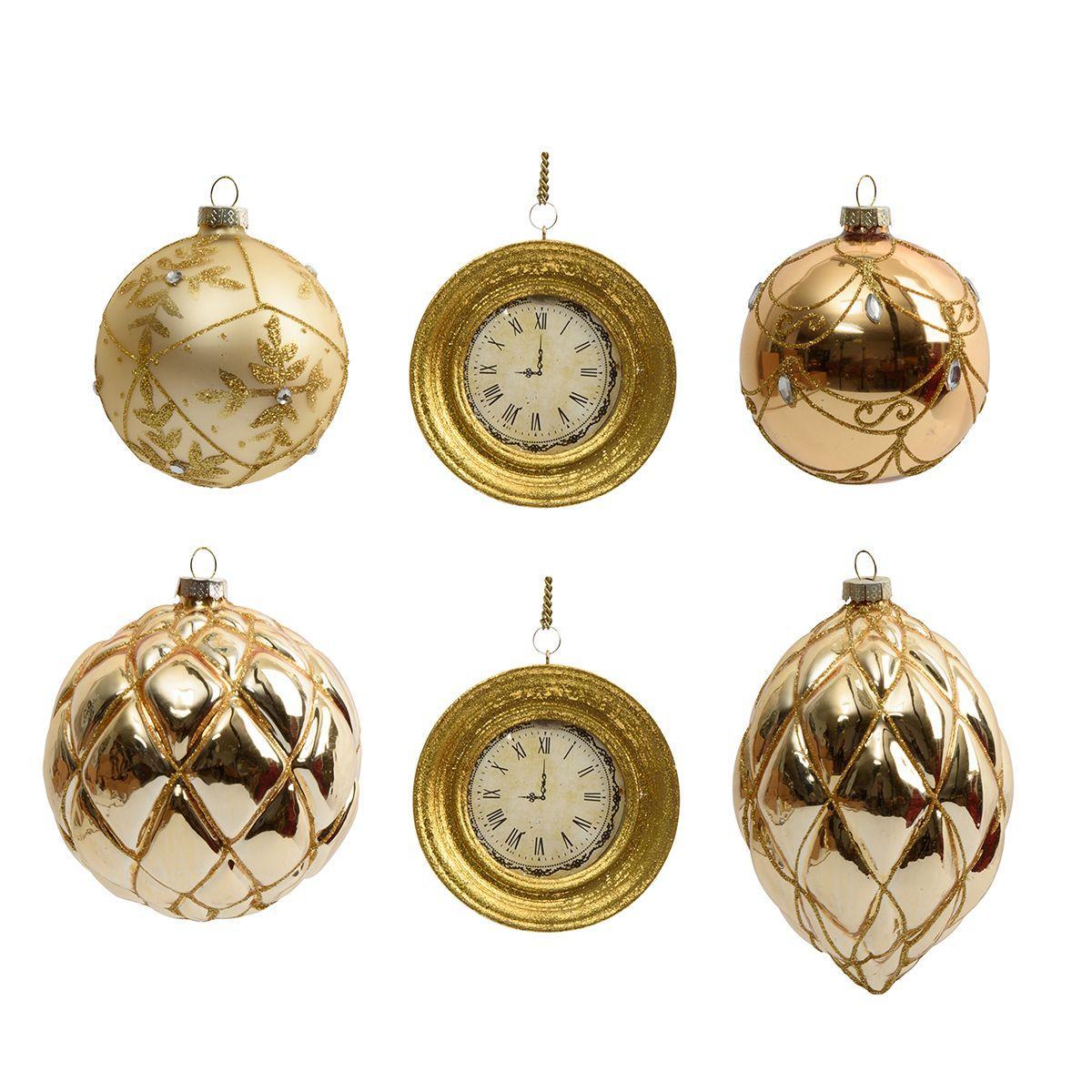 Золотистые ёлочные игрушки в виде часов и шишек, 6 шт.