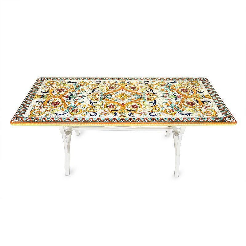 Стол прямоугольный из вулканического камня с ручной росписью Venezia