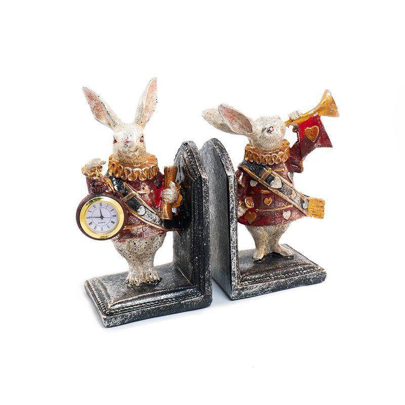 """Держатель для книг с часами """"Кролики-часовые"""""""