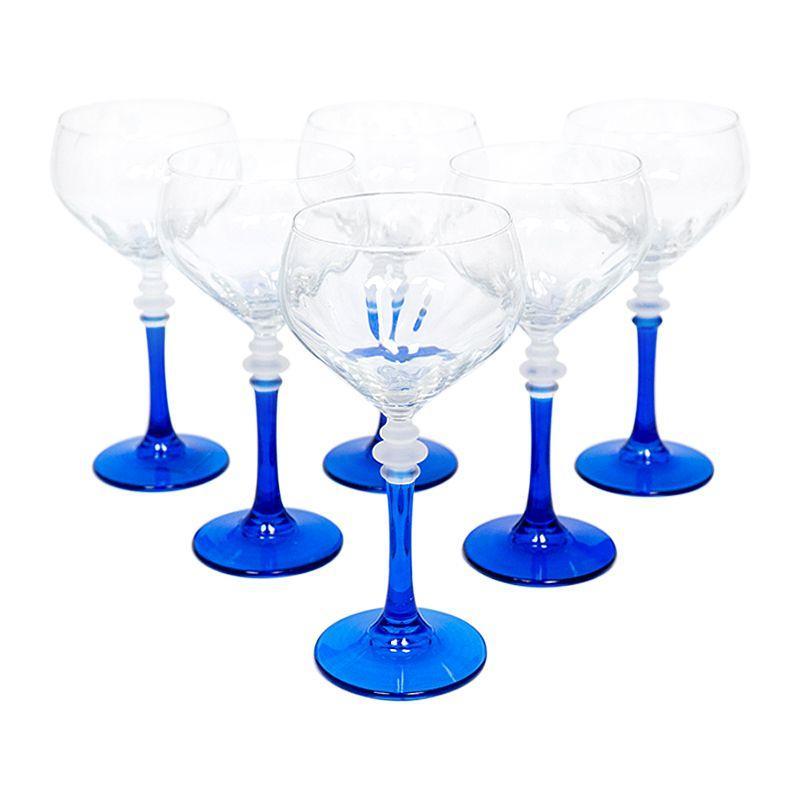 Набор из 6-ти бокалов на синих ножках для вина