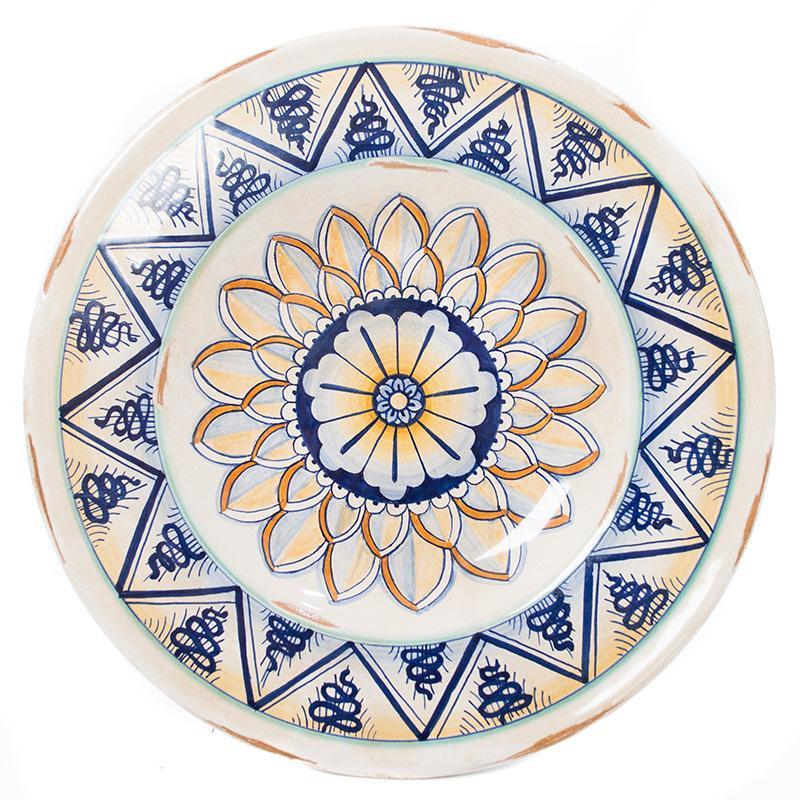 Тарелка настенная с ручной росписью из керамики Geometric