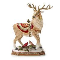 Большая новогодняя статуэтка оленя Санты «Зимний сюрприз»