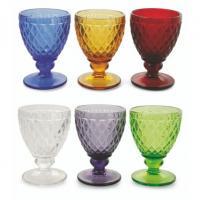 Комплект винных бокалов из разноцветного рельефного стекла, 6 шт.