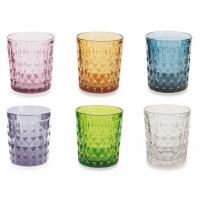 Комплект красочных стаканов из стекла с рельефным декором, 6 шт.