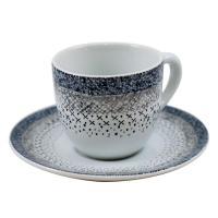 Кофейная чашка с блюдцем в серо-голубой палитре Stella