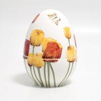 Большая шкатулка-яйцо из итальянской керамики с рельефным цветочным рисунком