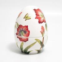 Большая керамическая шкатулка в форме яйца с ручной росписью рельефного узора
