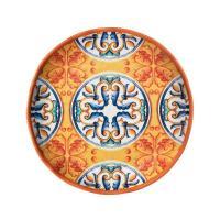 Тарелка обеденная оранжево-синяя из меламина Medicea