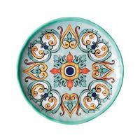 Тарелка десертная бирюзовая с ярким орнаментом Medicea