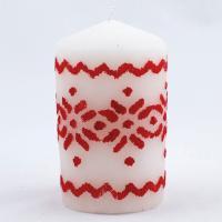 Свеча с красным орнаментом