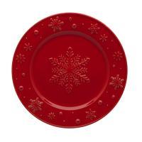 """Тарелка десертная красная с выпуклым рисунком """"Снежинки"""""""