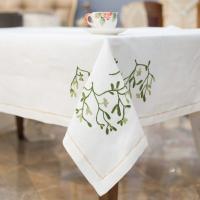 Скатерть белая с вышивкой и 12 салфеток Busatti