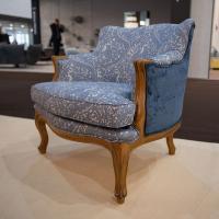 Роскошное кресло ручной работы в синем цвете Luis XV Versailles