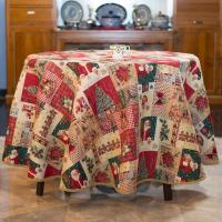 """Скатерть с люрексом на маленький стол круглая """"Новогодние колокольчики"""" Villa Grazia Premium"""
