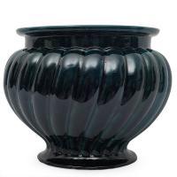 Кашпо большое керамическое темно-зеленого цвета