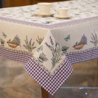 """Скатерть на прямоугольный стол """"Лаванда и бабочки"""""""
