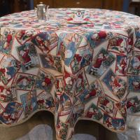 Новогодняя круглая скатерть с люрексом Merry Christmas Villa Grazia Premium