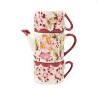 Набор чайник и 2 чашки, декор Бабочки