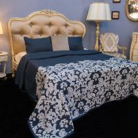Покрывало темно-синее +2 наволочки Paris Villa Grazia Premium