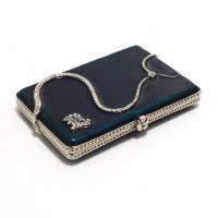 Элегантная подарочная визитница с синей глазурью и серебристой змейкой